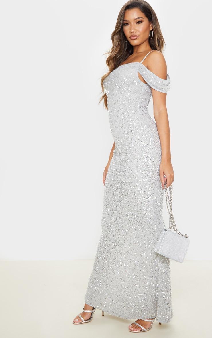 Silver Sequin Cowl Neck Bardot Maxi Dress 4