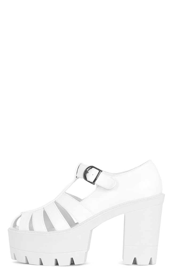 Jamiya White Leather Cut Out Heeled Sandals  1