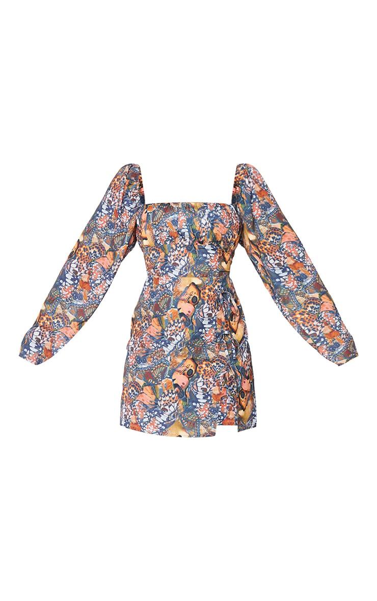 Robe moulante imprimée papillons multicolore à fente latérale et détail noeud 5
