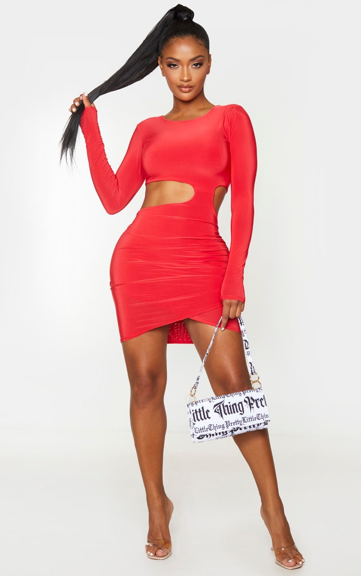 Shape Red Slinky Long Sleeve Cut Out Bodycon Dress 3