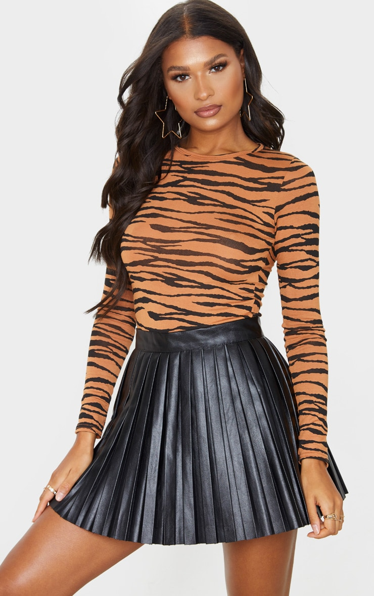 Basic Tan Zebra Long Sleeve Fitted T Shirt 1