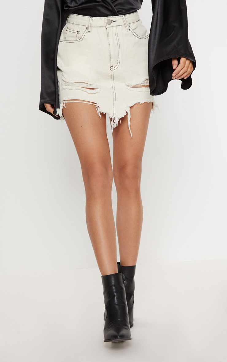 Ecru Contrast Stitch Distressed Denim Mini Skirt 2