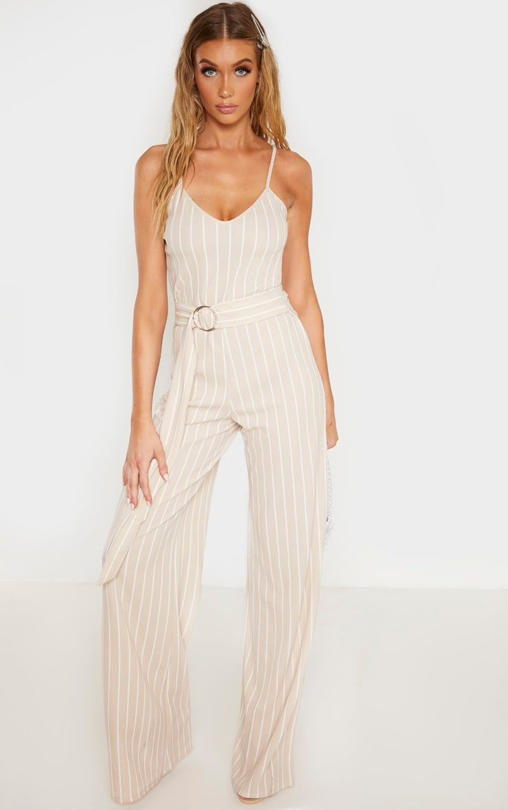 Tall Stone Pinstripe O-Ring Belt Jumpsuit 1