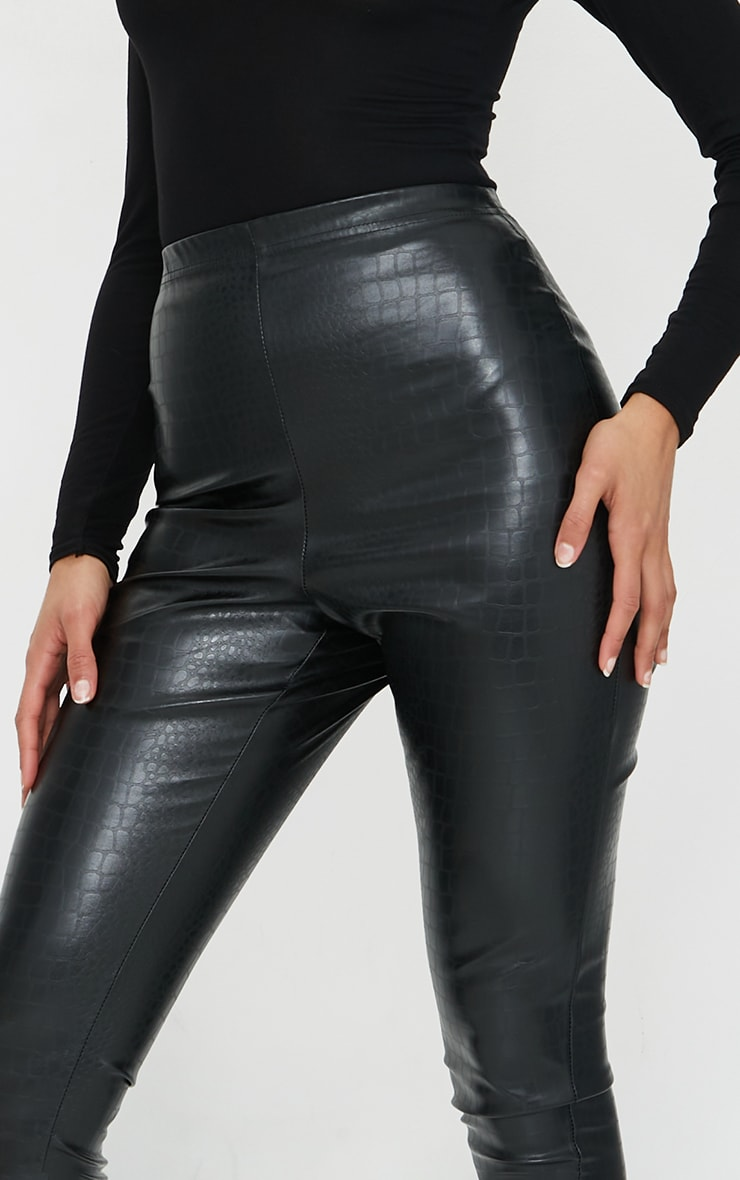Black Croc Faux Leather Skinny Trousers 4