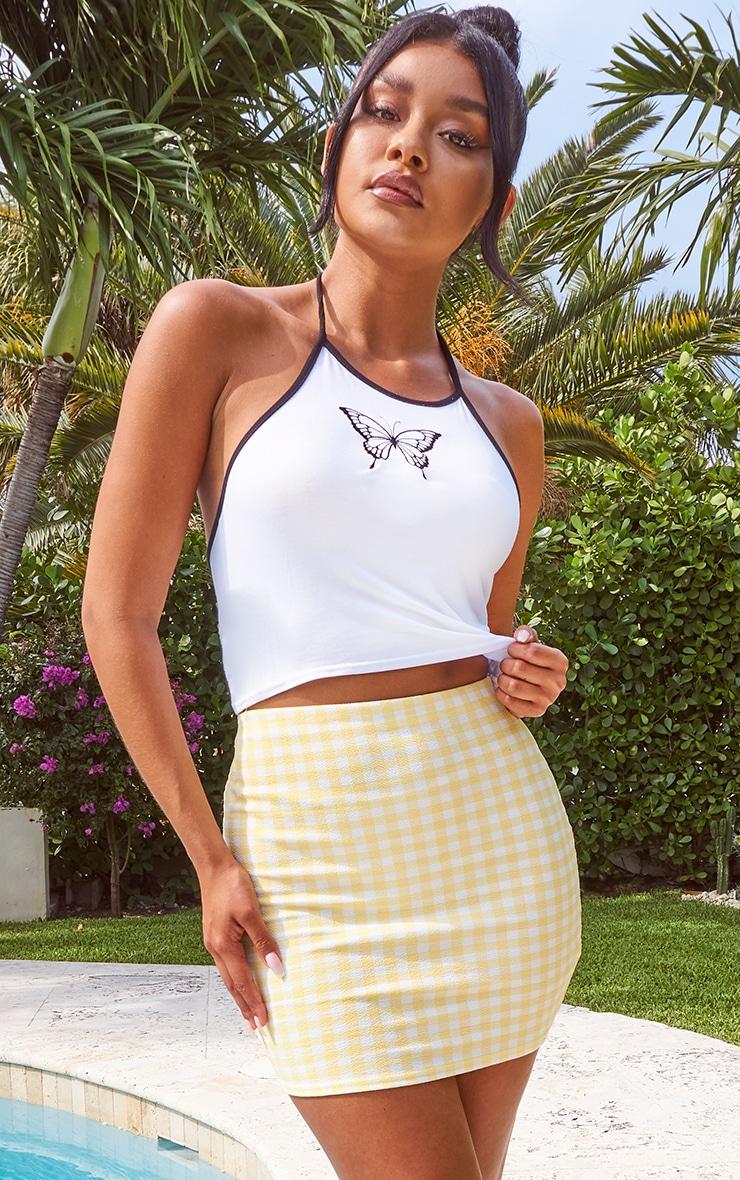 Lemon Gingham Mini Skirt 1
