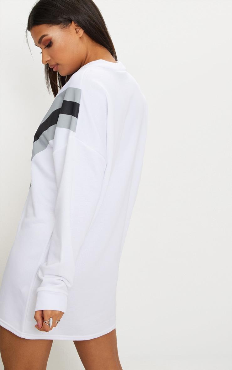 White Chevron Oversized Jumper Dress  2