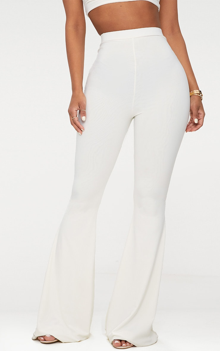 Shape White Slinky Flared Trousers 2