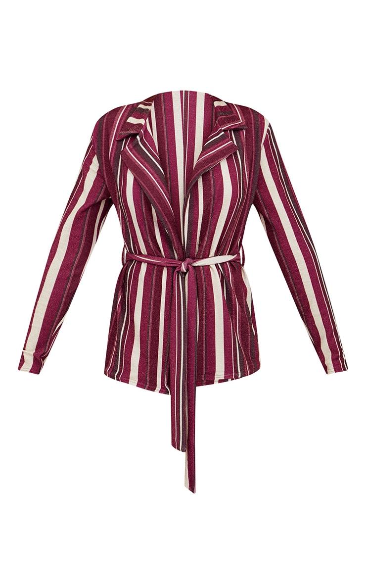 Burgundy Metallic Stripe Belted Blazer 3