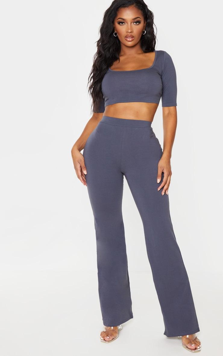 Shape Charcoal Cotton High Waist Flared Trouser 1