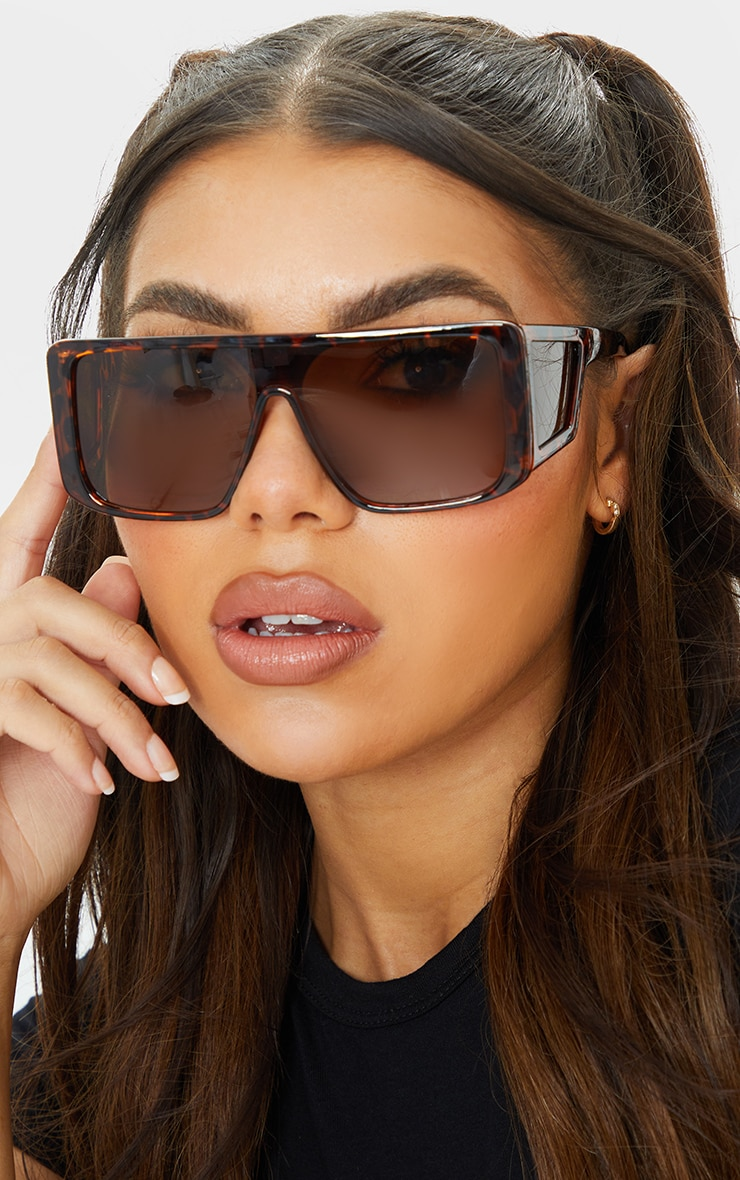 Brown Tortoise Oversized Triple Lens Square Frame Sunglasses 2