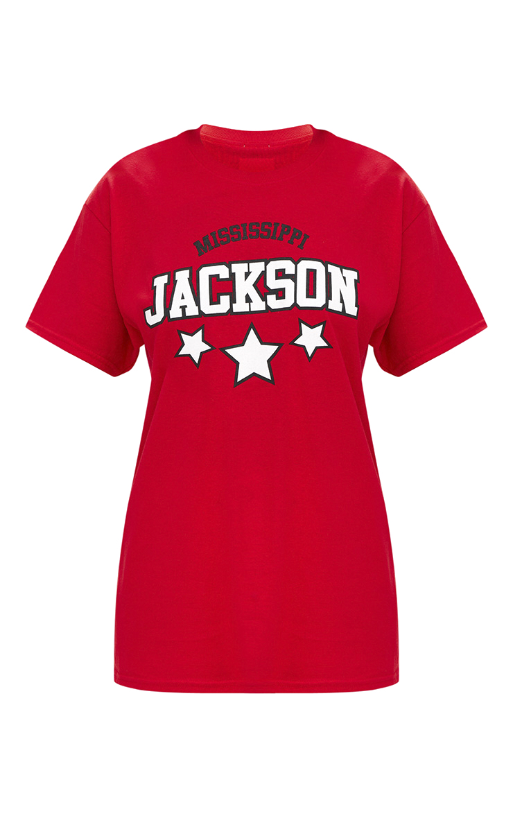 Jackson Slogan Red Oversized T Shirt 2
