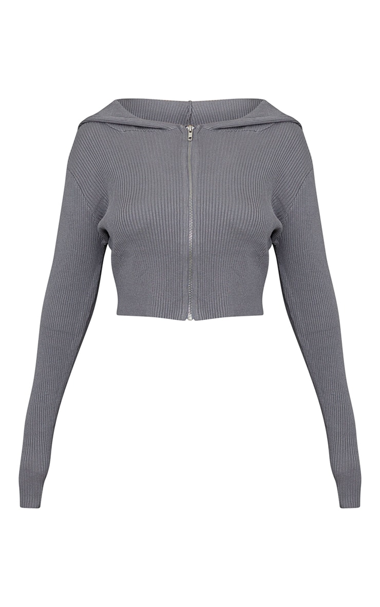 Gilet en maille tricot fine grise à zip 5