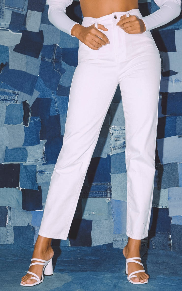 PRETTYLITTLETHING White Straight Leg Jeans  2