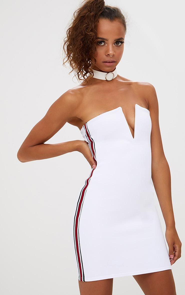 Petite White Sports Rib V Plunge Mini Dress 1