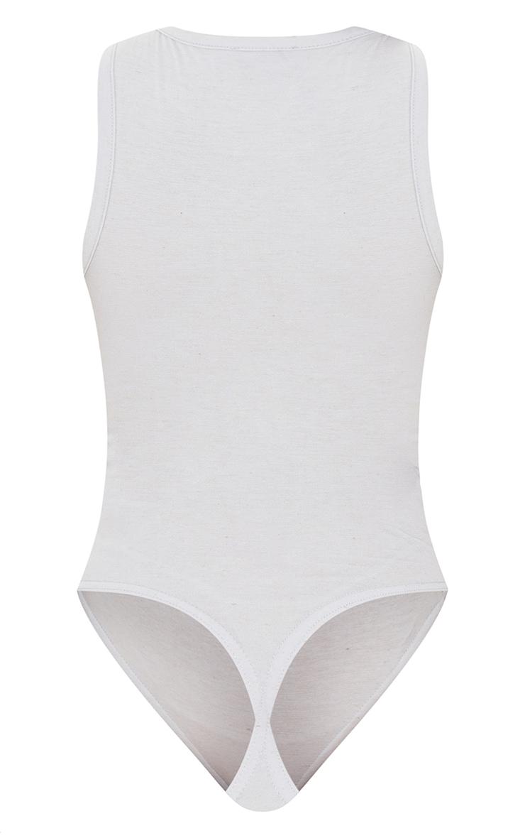Grey Melange Racer Neck Sleeveless Bodysuit 6