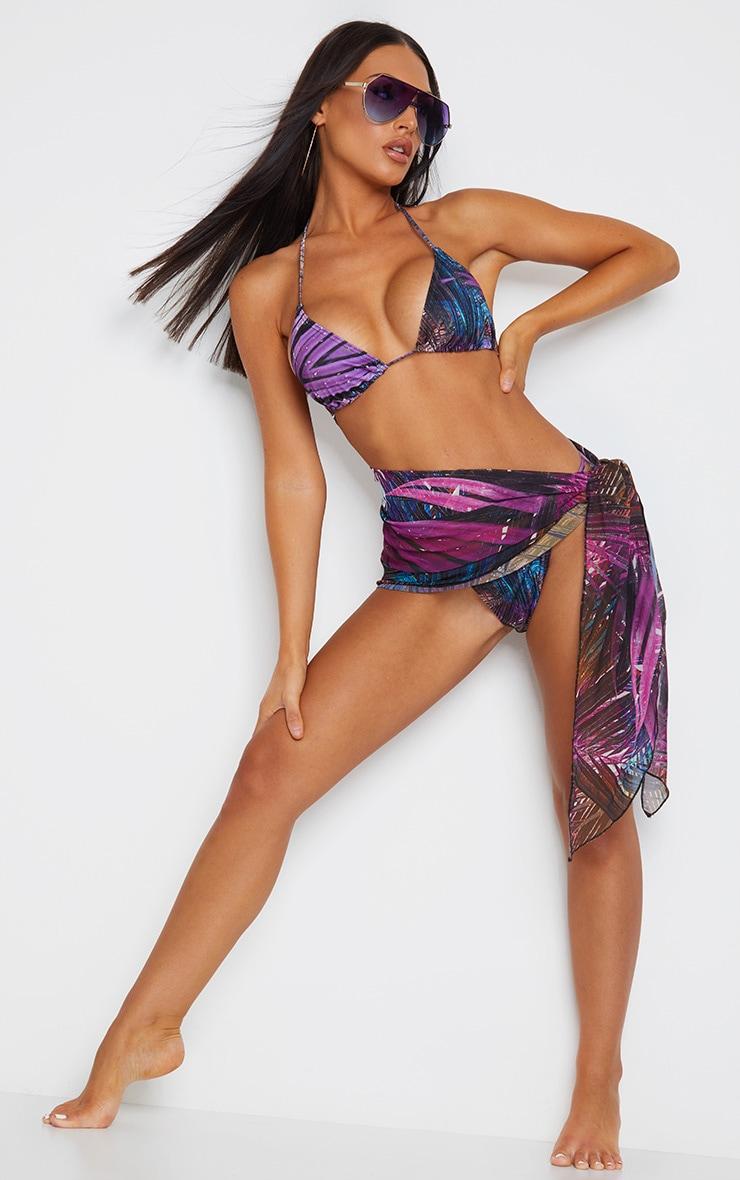 Purple Palm Print Mini Triangle Bikini Top 5