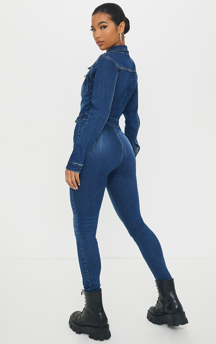 Mid Blue Wash Stretch Zip Through Denim Boilersuit image 2