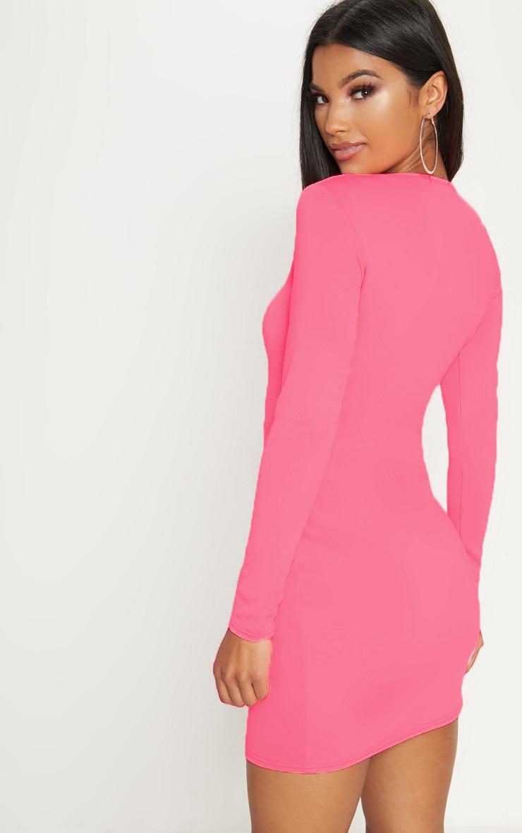 Neon Pink Long Sleeve Split Leg Bodycon Dress 2