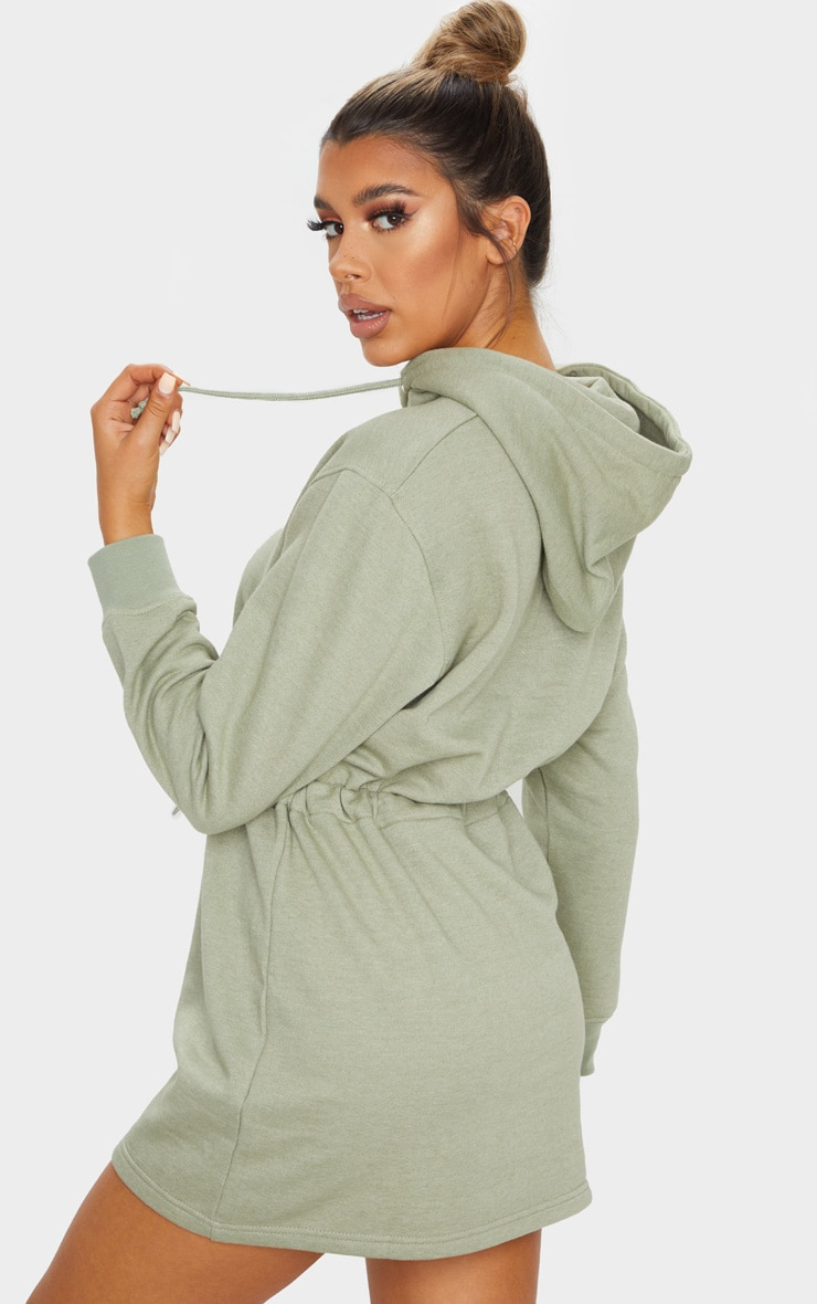 PRETTYLITTLETHING Sage Green Toggle Front Hoodie Sweater Dress 2