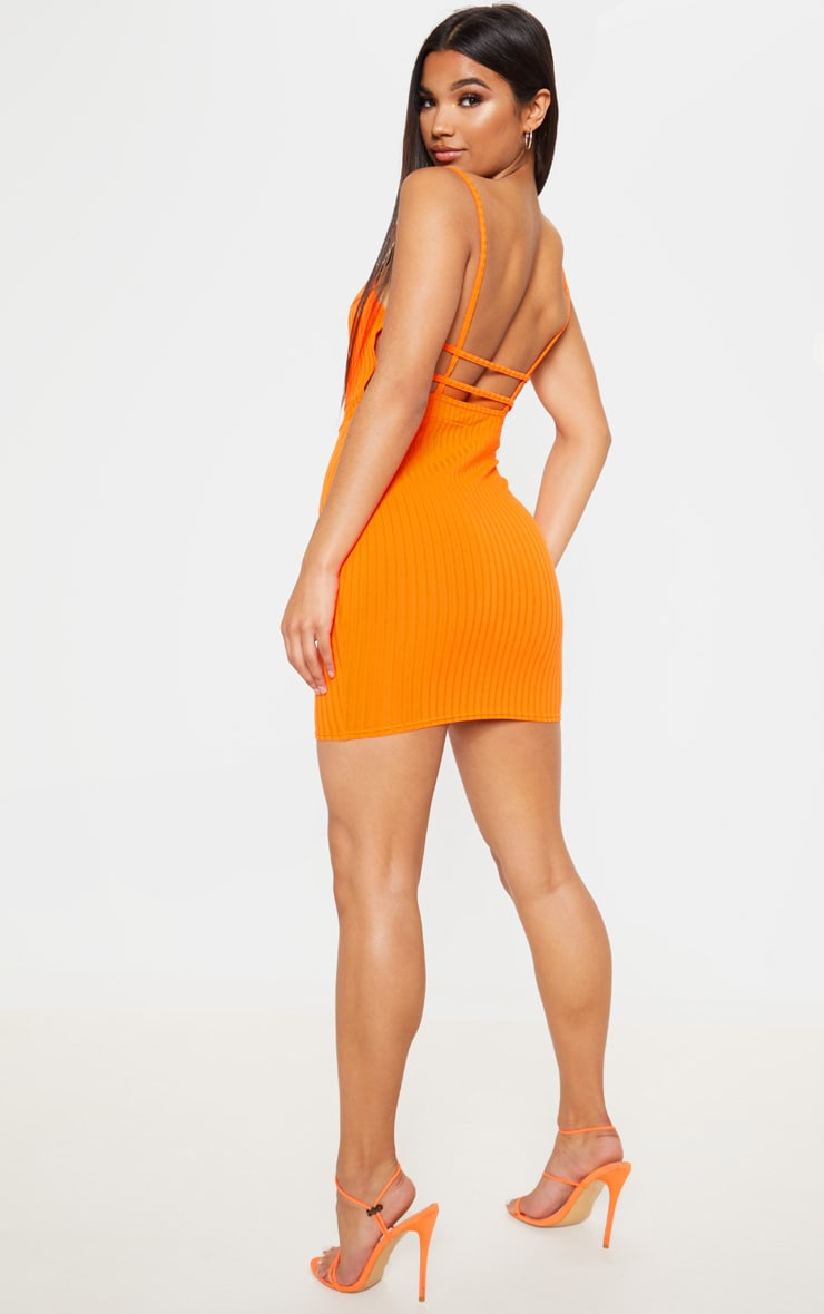 Bright Orange Ribbed Strappy Back Bodycon Dress  4