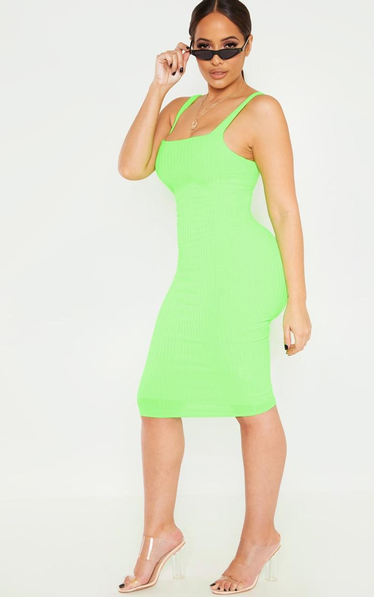 Shape Neon Lime Ribbed Square Neck Midi Dress 4