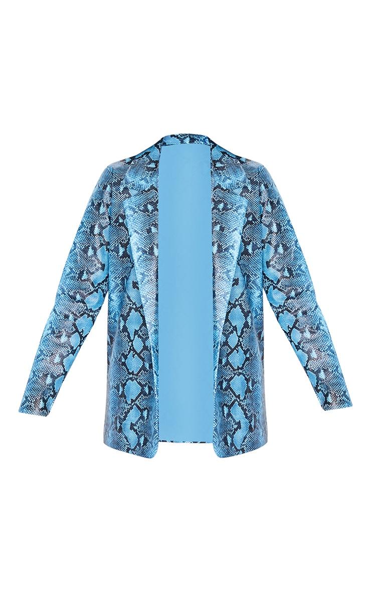 Blue PU Snake Oversized Blazer 3