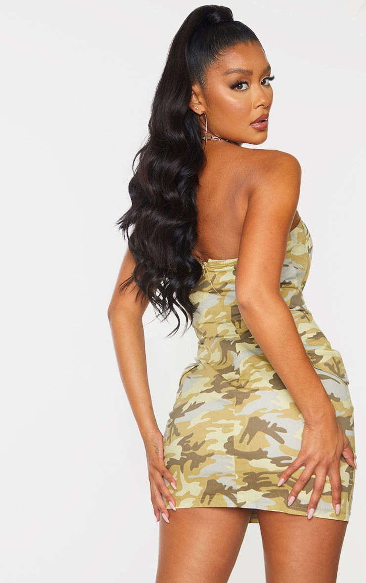 Green Camo Lace Up Detail Underwired Bandeau Bodycon Dress 2