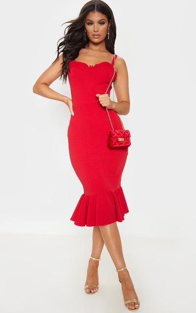 Red Sweetheart Frill Hem Midi Dress