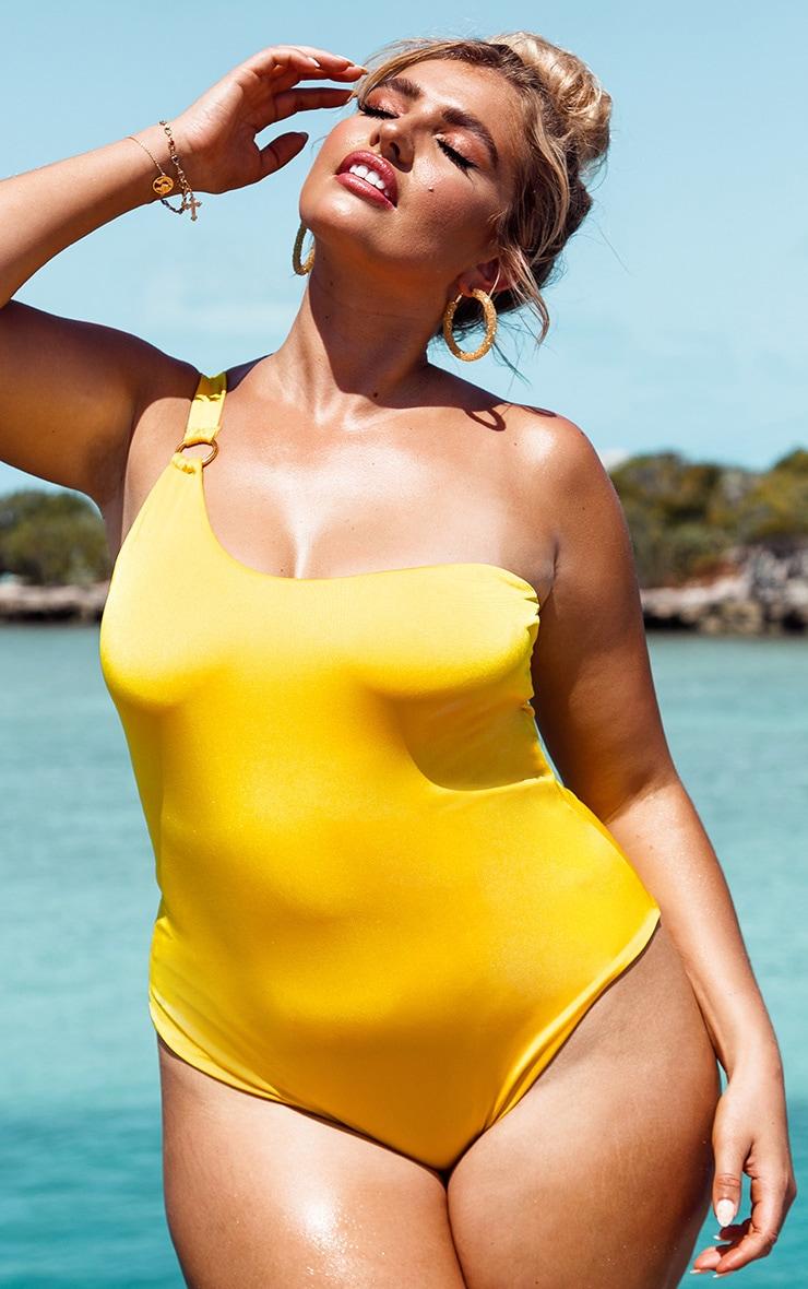 Plus Bright Yellow Asymmetric Ring Detail Swimsuit 1