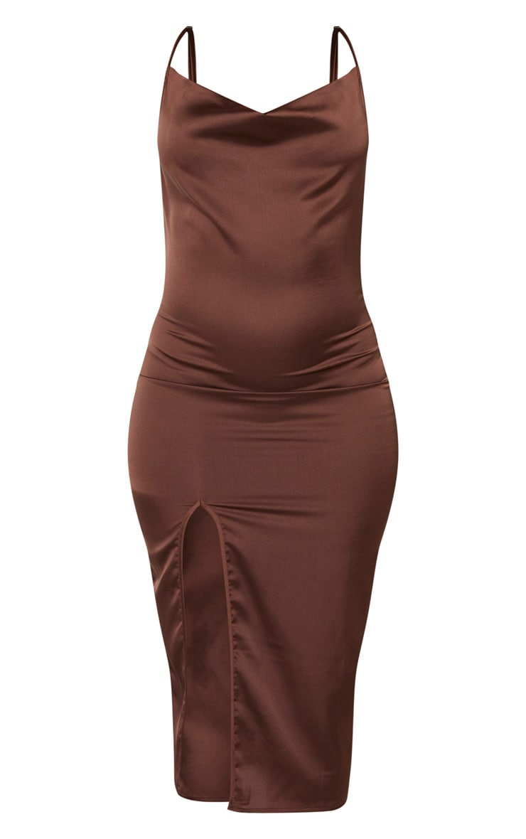 Chocolate Brown Strappy Satin Cowl Midi Dress 3