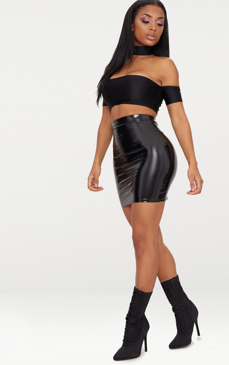Shape Black Vinyl Bodycon Skirt 5