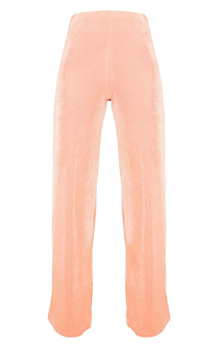 Peach Textured High Waisted Wide Leg Pants 3