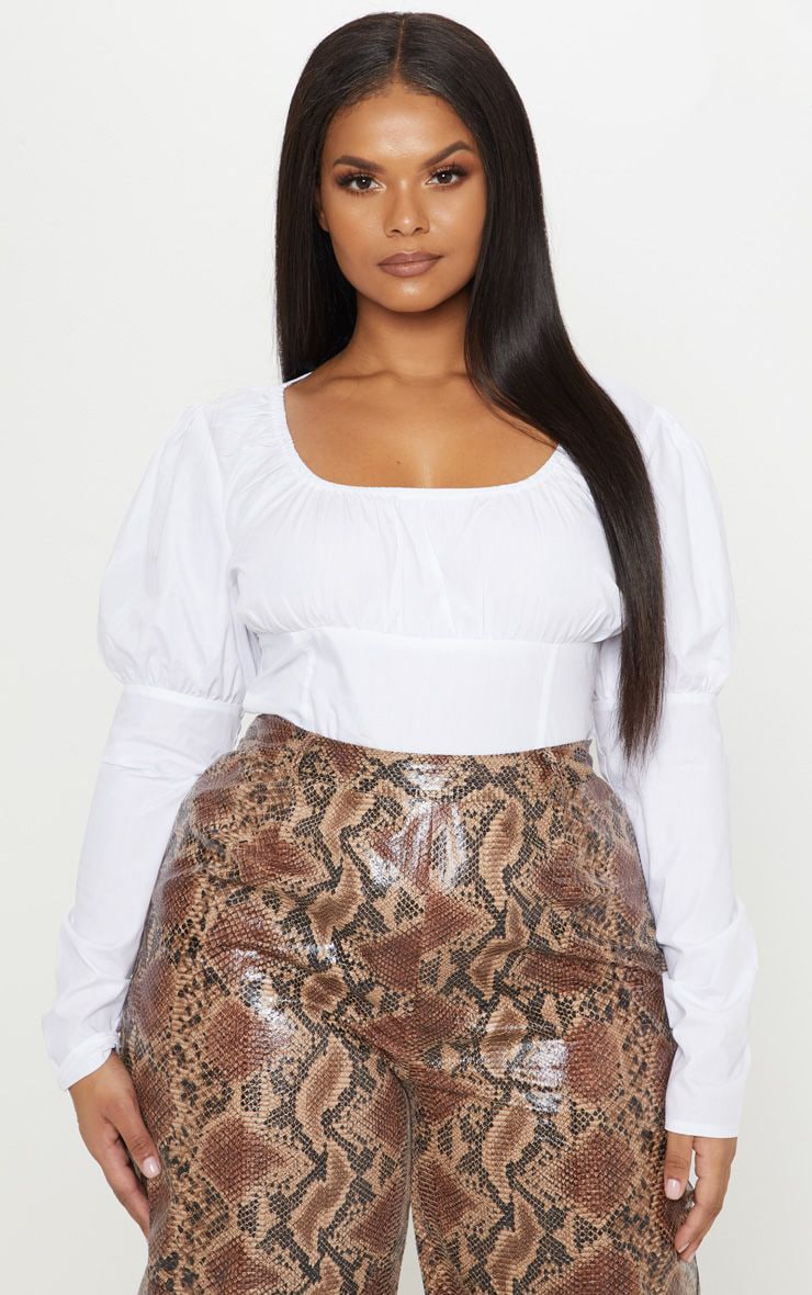 Plus White Puff Sleeve Square Neck Crop Top 1