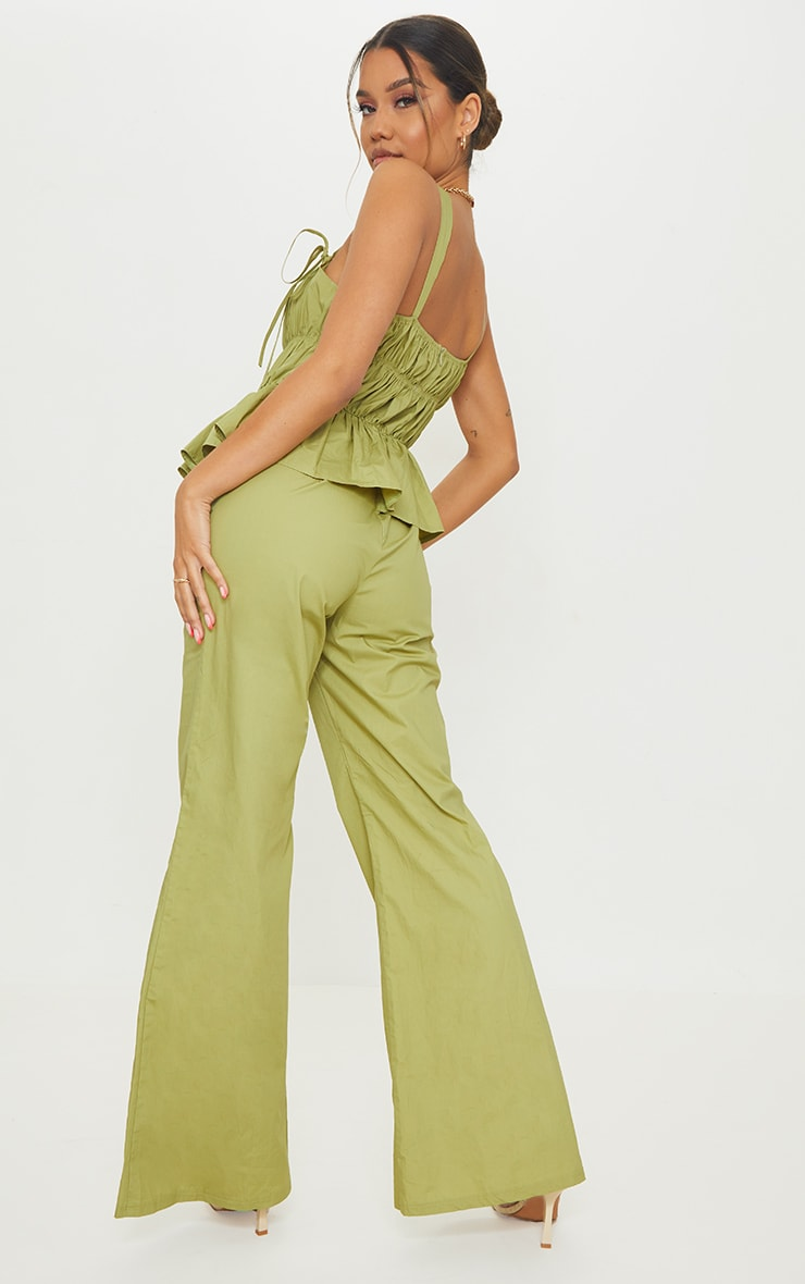 Khaki Ruched Bust Strappy Peplum Jumpsuit 2
