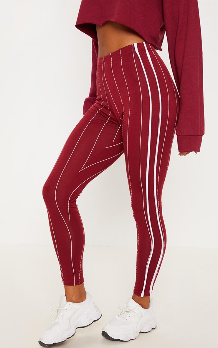 Burgundy Pinstripe High Waisted Side Stripe Legging  2