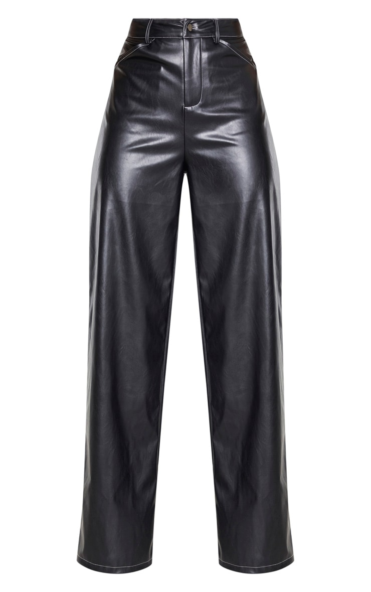Black Faux Leather Contrast Stitch Wide Leg Pants  3