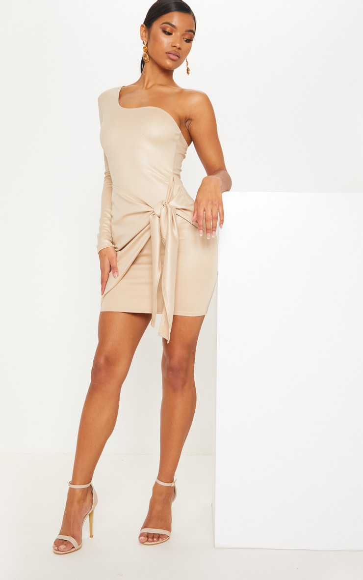 Nude Matte PU One Shoulder Wrap Dress 4