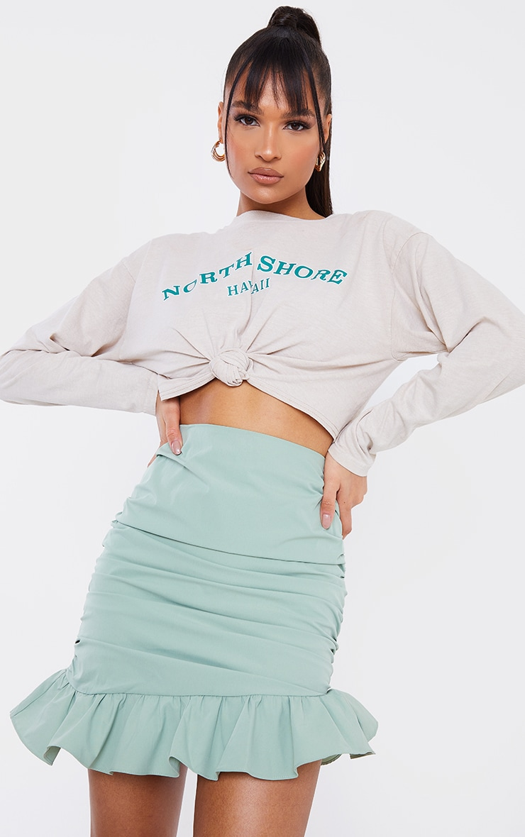 Sage Green Woven Asymmetric Frill Hem Mini Skirt 4