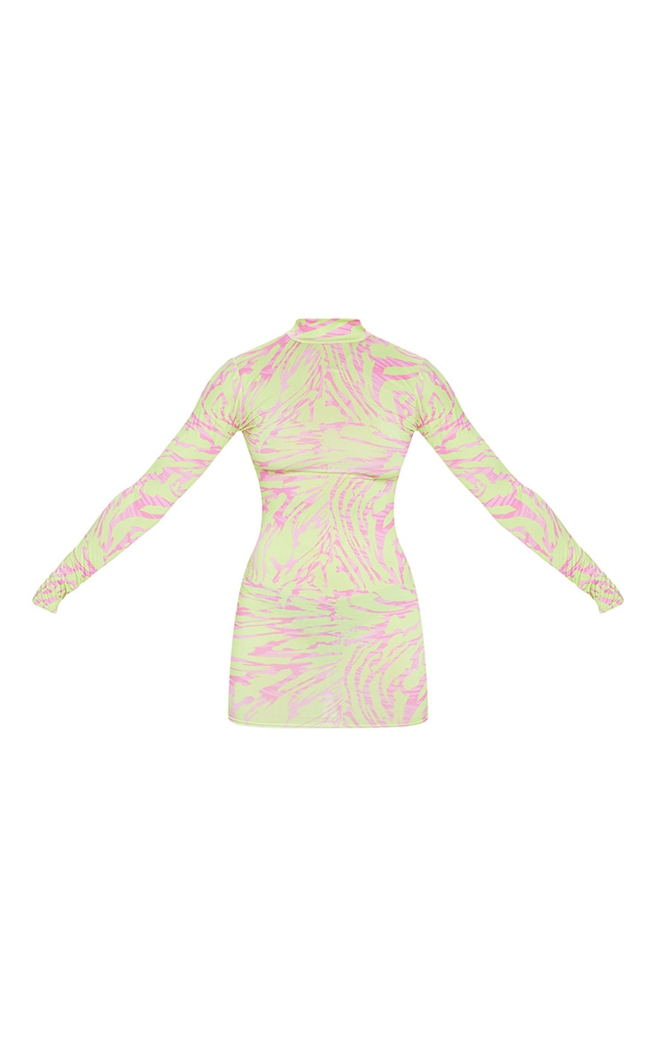 Plus Lime Abstract Print High Neck Long Sleeve Bodycon Dress 5