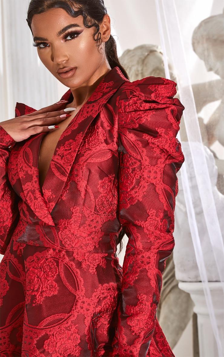 Red Jacquard Puff Sleeve Lapel Detail Skater Dress 4