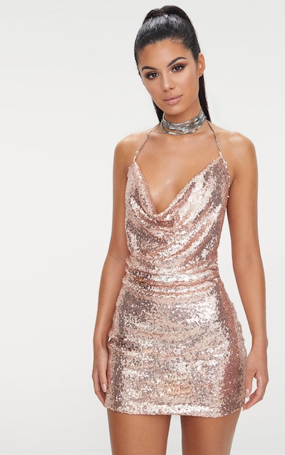 e82ac8a7f9 Rose Gold Sequin Chain Choker Mini Dress