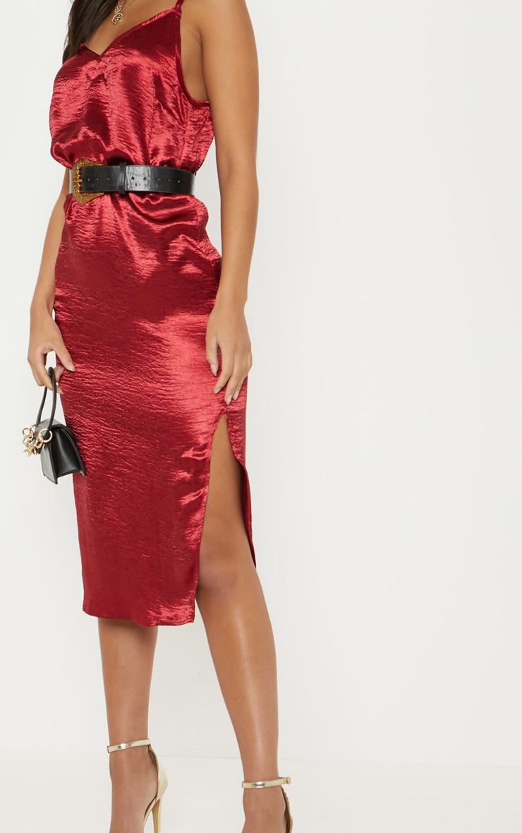 1d9179e866dd Burgundy Hammered Satin Midaxi Dress   PrettyLittleThing