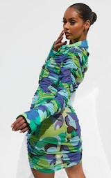 Green Abstract Print Mesh Ruched Oversized Cuff Shirt Dress 2