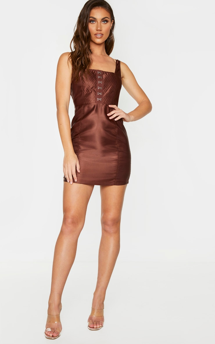 Chocolate Brown Satin Hook & Eye Bodice Sleeveless Bodycon Dress 1