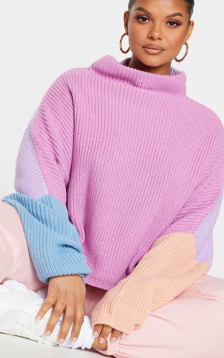 Plus Pink Oversized Color Block Sweater 4