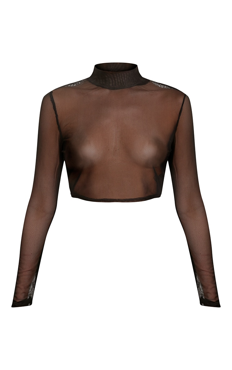 Janie Black Mesh High Neck Longsleeve Crop Top 3