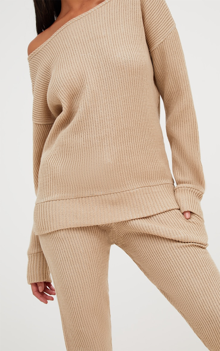 Stone Ribbed Knitted Lounge Tracksuit 5