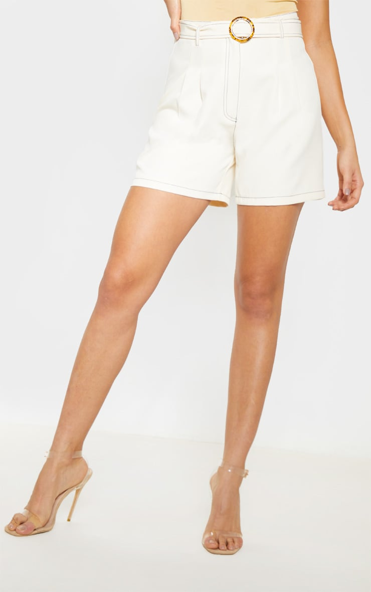 Cream Contrast Stitch Belted Tailored Short 2