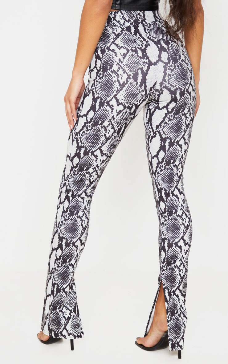 Grey Snake Split Hem Skinny Pants 4