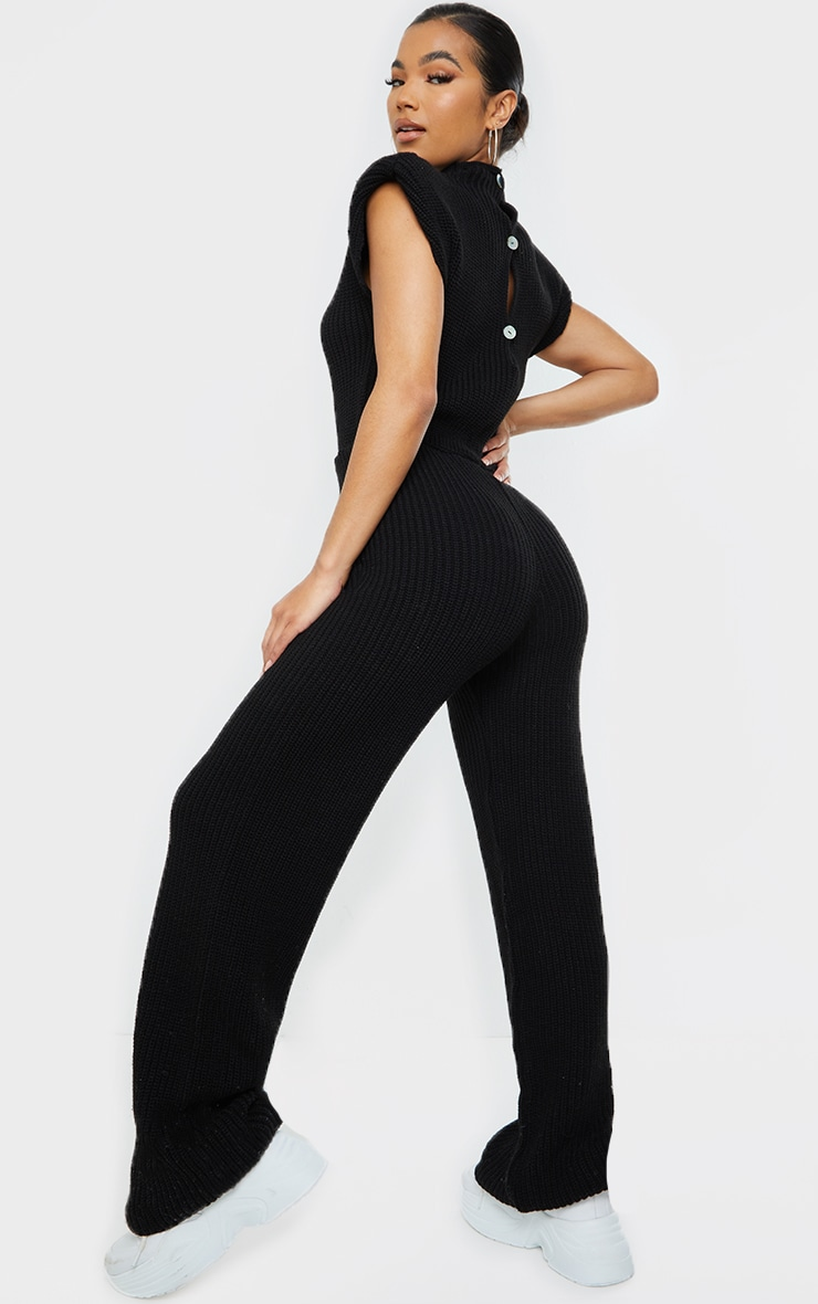 Black Shoulder Pad Knitted Wide Leg Jumpsuit 2